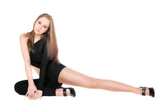 Woman in a black tight-fitting body suit dance Stock Image