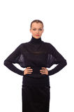 Woman in black turtleneck sweater Royalty Free Stock Image