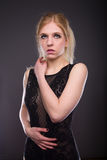 Woman in black underwear Royalty Free Stock Photography