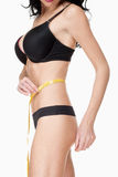 Woman in Black Underwear Measuring Results of Diet Royalty Free Stock Image