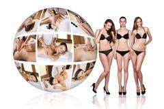 Woman in black underwear near collage ball Stock Photo
