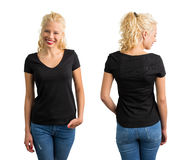 Woman in black v neck T-shirt. Front and back Royalty Free Stock Image
