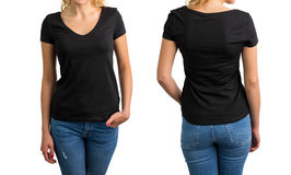 Woman in black V-neck T-shirt, front and back. Collage Stock Photos