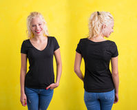 Woman in black V- neck T-shirt on yellow background. Front and back Stock Photo