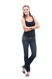 Woman in black vest Stock Photos