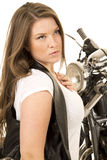 Woman black vest motorcycle behind look side Stock Photography