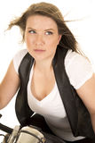 Woman black vest motorcycle wind close lean forward Royalty Free Stock Photo
