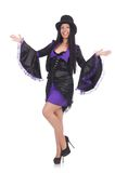 Woman in black and violet dress isolated on the Stock Image