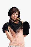 Woman in black warm mitten Royalty Free Stock Image