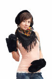 Woman in black warm mitten Stock Photo