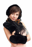 Woman in black warm mitten Royalty Free Stock Images
