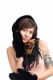 Woman in black warm mitten Royalty Free Stock Photo