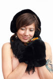 Woman in black warm mitten Stock Photo