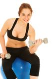 Woman in black with weights Royalty Free Stock Image