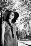 Woman in black white Stock Photos