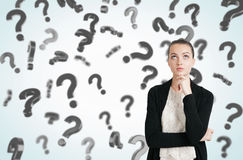 Woman in black and white clothes and floating question marks Stock Photos
