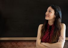 Woman with blackboard Royalty Free Stock Image