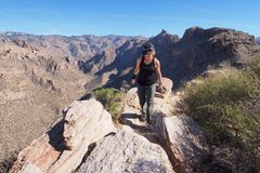 Woman on the Blackett`s Ridge Trail, Arizona. stock image
