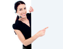 Woman with blank billboard sign banner Royalty Free Stock Photos