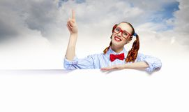 Woman with a blank billboard Stock Image