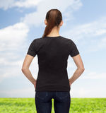 Woman in blank black t-shirt Royalty Free Stock Image