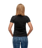 Woman in blank black t-shirt Stock Image