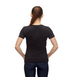 Woman in blank black t-shirt Royalty Free Stock Photo