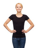 Woman in blank black t-shirt Royalty Free Stock Photos