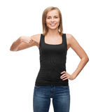 Woman in blank black tank top Stock Image
