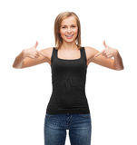Woman in blank black tank top Royalty Free Stock Photography