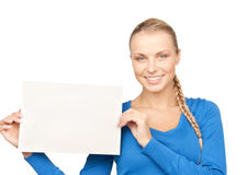 Woman with blank board Stock Image
