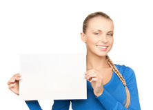 Woman with blank board Stock Photos