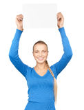 Woman with blank board Stock Photography