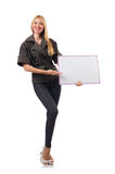 Woman with blank board isolated Royalty Free Stock Photography