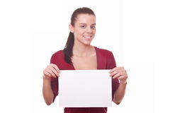 Woman with blank board or paper Royalty Free Stock Photos