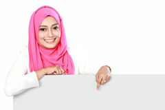 Woman with blank board Royalty Free Stock Photo