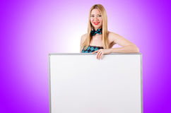 Woman with blank board on white Stock Images