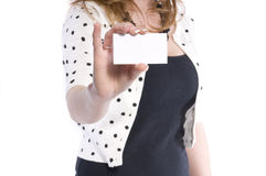 Woman with blank business card Royalty Free Stock Photos