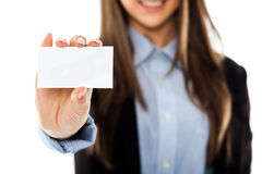 Woman with blank business card Stock Photography