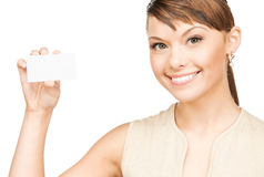 Woman with blank business or name card Stock Image