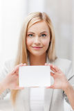 Woman with blank business or name card Stock Photography
