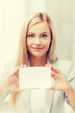 Woman with blank business or name card Stock Photo
