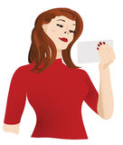 Woman with blank card Royalty Free Stock Photo