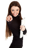 Woman with blank card pointing you Stock Photography