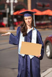 Woman with Blank Cardboard Sign Royalty Free Stock Photography