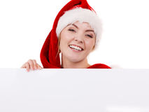 Woman with blank empty banner board. Christmas Stock Image