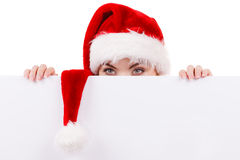 Woman with blank empty banner board. Christmas Stock Images