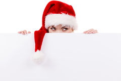 Woman with blank empty banner board. Christmas Royalty Free Stock Images