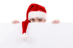 Woman with blank empty banner board. Christmas Stock Photos