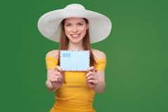 Woman with blank envelope Royalty Free Stock Image